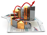 Business concept. Graph and business plan. 3d