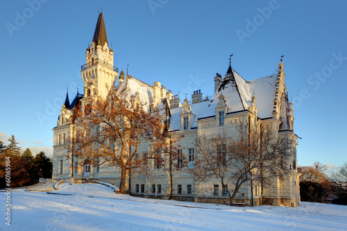 Winter park with castle in a Slovakia
