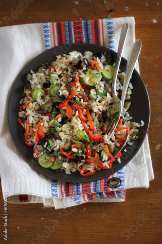 Brown rice with assorted vegetables