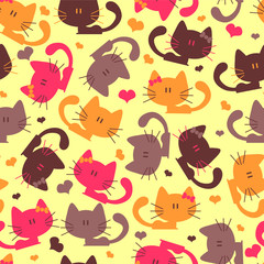 Seamless pattern with sweet little kittens