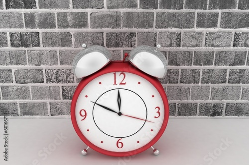 Red alarm clock. 3d icon on  brick wall background