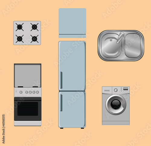set of object for the kitchen