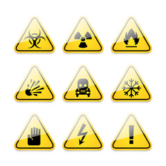 Icons warning signs of danger