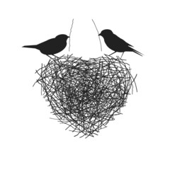two birds making their heart shape nest
