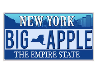 An imitation New York license plate
