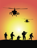 Soldiers and military helicopters, sunset, vector
