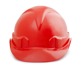 Red constuction safety helmet