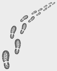 Trail of shoe prints, vector illustration