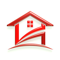 3D Glossy Real Estate Business Red Home Icon