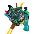 paintbrush blends multicolored watercolors