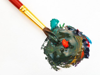 paintbrush blends multicolored watercolors