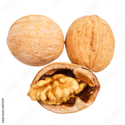 walnuts close up isolated on white