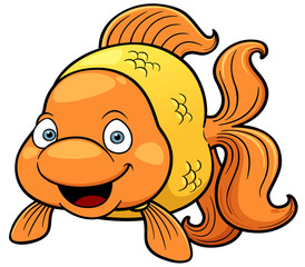 Vector illustration of goldfish cartoon