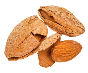 three fried almond nuts