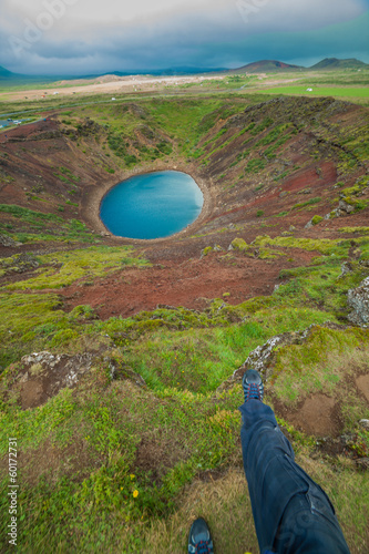 Lake in round volcano crater