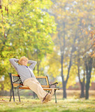 Senior gentleman sitting on wooden bench and relaxing in park