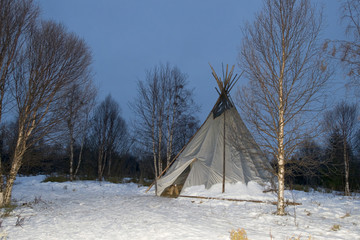 teepee in the snow background