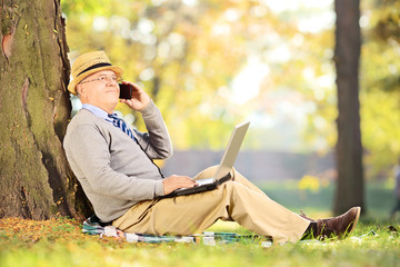 Senior man in park talking on a phone and working on laptop