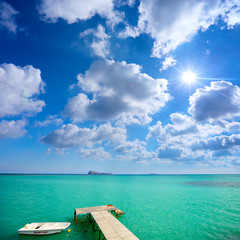 Turquoise water and jetty in tropical Island
