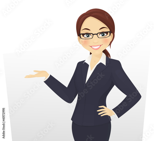 Cute businesswoman showing something