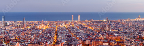 Fototapeta Barcelona skyline panorama at the Blue Hour