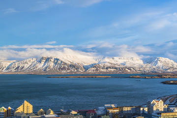 View of Reykjavik and mountains across the harbor, Iceland