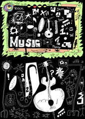 Doodle music isolated on black, hand drawn design elements
