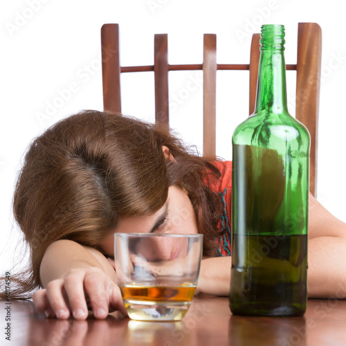 Drunk,sad and tired woman isolated on white