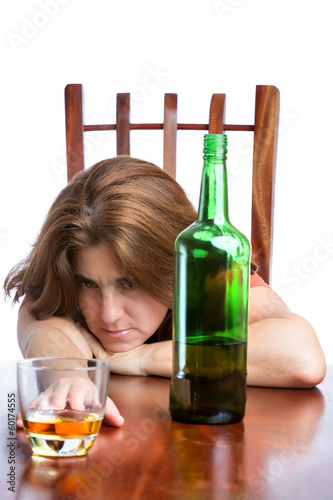 Drunk and sad woman isolated on white