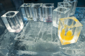 ice blocks glasses in a ice hotel bar pub