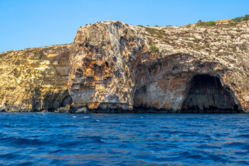 Caverns of the Blue Grotto in the coast of Malta