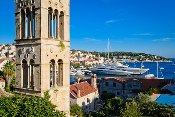 View of the bay with yachts on the island of Hvar in Croatia