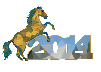 polygonal horse green-blue