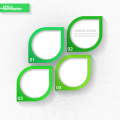 Infographic template with four green leaves labels. Eps10