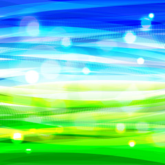Bright summer bacground with abstract sky and grass. Eps10