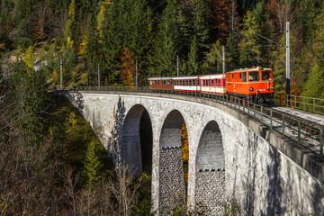 Mariazellerbahn mit Reihe 2095 auf dem Saugrabenviaduk