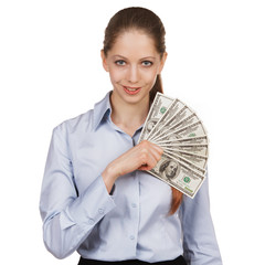 Pretty girl holding a hundred-dollar bills