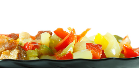 Vegetables on black plate