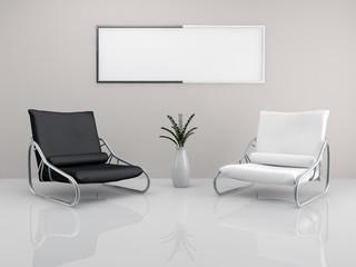 Minimalist armchair couple
