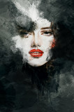 Fototapety Beautiful woman face. watercolor illustration