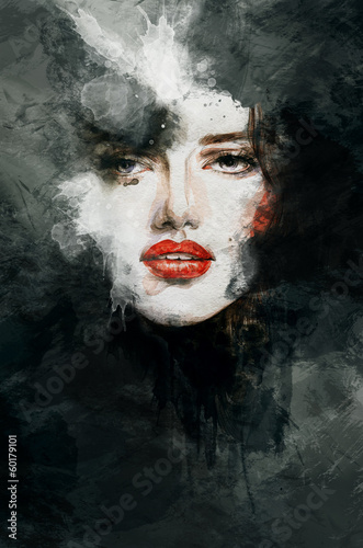 Beautiful woman face. watercolor illustration - 60179101