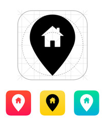 Map pin with home icon.