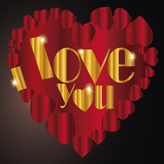 Heart and   I love you in gold text