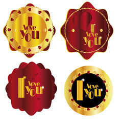 "gold  red Set of label ""I love you"""