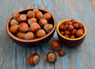 Kernels of hazelnuts and in a shell.