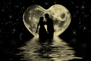 Romantic valentine atmosphere with couple at the moonlight