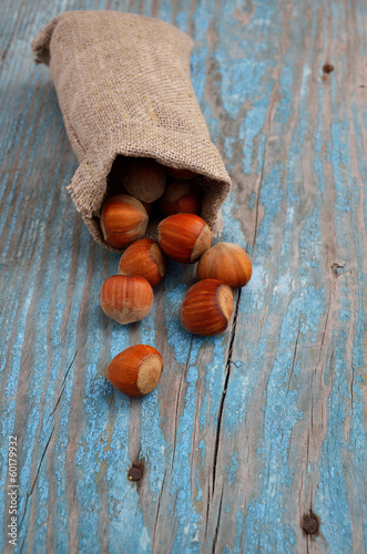 Hazelnuts in a bag.