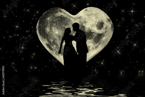 Valentine romantic atmosphere with heart shaped moon