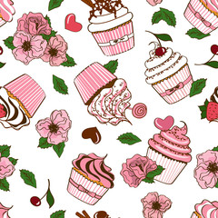 Seamless pattern of cupcakes and flowers