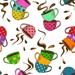 Seamless pattern of teacups